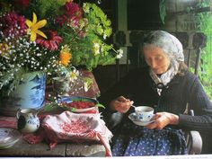 tea time-She is an extraordinary person. Lives simply, like they did years ago. Gardens, illustrates children's books, and leads a fascinating and interesting life.