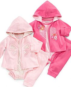 First Impressions Baby Set, Baby Girls Butterfly/Heart Hoodie, Bodysuit, and Sweatpants Set - Kids Baby Girl (0-24 months) - Macy's