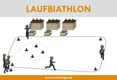 The running biathlon is a running game and a relay game at the same time, which are played in physic
