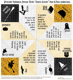 Free printable halloween cootie catcher...fun for the kids...