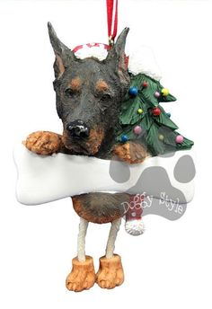 Dangling Leg Doberman Dog Christmas Ornament http://doggystylegifts.com/products/dangling-leg-doberman-dog-christmas-ornament