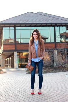 Chambray shirt, Brown leather jacket, Jeans, Red shoes - Semi formal Outfit