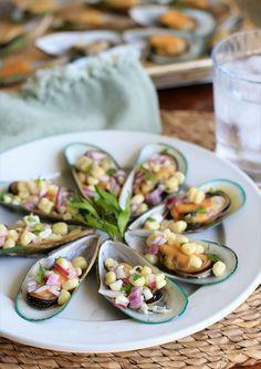 Choros à la Chalaca- Peruvian Mussels with Corn Salsa | Girl Cooks World