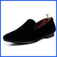 Black Velvet Loafers Men Slip On Dress Shoes Handmade Brand Male Flat Shoes Sales Prince Albert Slippers