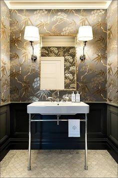 GORGEOUS WALLPAPER IDEAS FOR YOUR MODERN BATHROOM http://maisonvalentina.net/blog/gorgeous-wallpaper-ideas-modern-bathroom/ #modernbathroom #wallpaperbathroom #bathroomwallpaper #luxurybathroom #contemporarydesign #designideas #gorgeousbathroom #bathroomdecor