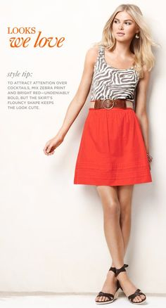 Maybe I'm a little late on this trend, but I'm loving the high-waisted skirt with chunky belt look...also like it with a blousy top.
