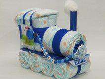 Windeltorte Windellokomotive + Schnullerkette blau