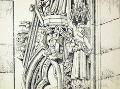 1872 Large Antique Architectural Drawing of door bananastrudel