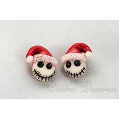 Christmas Jack Skellington Earrings, Skull Earrings, Goth Christmas Earrings, Polymer Clay Earrings, Nightmare Before Christmas, Kawaii