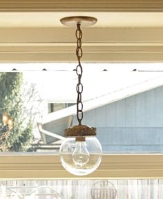 My kitchen's new-old light fixture make over…thrift store pendant light makeover….