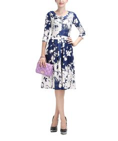 Take a look at the Reborn Collection White & Blue Floral Drape Neck Dress on #zulily today!