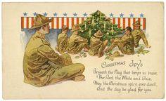 American Flag Christmas Postcard, WWI era