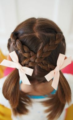 Very Easy Hair Styles for Girls: From Toddlers to School Age 6 easy styles for girls hair, short hair styles, best bows, cool braid hairstyles,. Easy Hairstyles For School, Cool Braid Hairstyles, Haircuts For Long Hair, Short Haircuts, Ladies Hairstyles, Easy Toddler Hairstyles, Wedding Hairstyles, Modern Haircuts, Hairstyles 2016