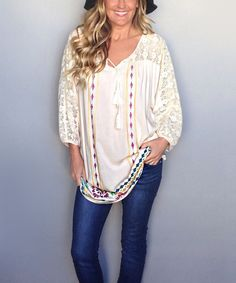 Look at this Cream Lace Embroidered Scoop Neck Tunic on #zulily today!