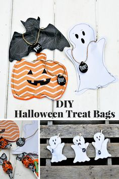 Free template to make these gorgeous sewn halloween treats bags. Pumpkin, Ghost and Bat also make for a great Halloween decoration garland. Pull on the BOO! tag to open.