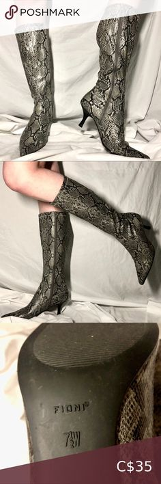 Shop Women's Gray Black size Heeled Boots at a discounted price at Poshmark. Shoes Heels Boots, Heeled Boots, Snakeskin Heels, Snake Skin, Classy, Formal Dresses, Grey, Outfits, Things To Sell