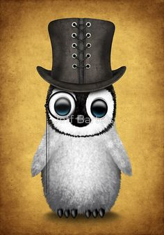 Cute Baby Penguin with Monocle and Top Hat on Yellow | Jeff Bartels