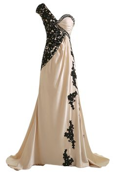 6a61c47c51 Sunvary Champagne and Black One Shoulder Satin and Lace Prom Evening Dress  for Mother of the Groom Long Bridesmaid Gowns Girls Pageant Formal US Size  ...