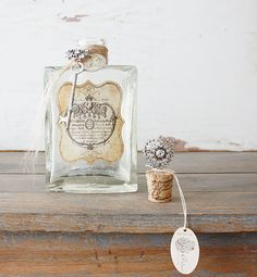 Large Repurposed Vintage Bottle - Rustic & French. $48.00, via Etsy.