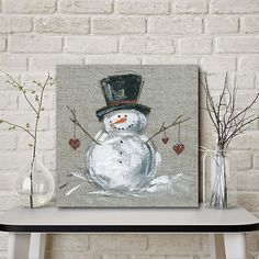 Decorating With Snowmen, Snowman Decorations, Snowman Crafts, Christmas Decorations, Christmas Rock, Christmas Signs, Christmas Snowman, Christmas Crafts, Easy Primitive Crafts