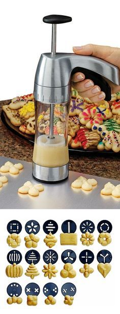 #Cookie Pro Ultra II Cookie Press // 12 different shapes + 4 mini cookie shapes... this is brilliant! #productdesign #kitchen