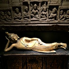 Extremely Rare 19C Reclining Wood Mandalay Buddha #DW081
