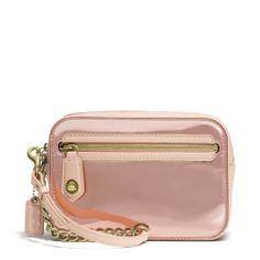 Love the metallic pink!! The Poppy Flight Wristlet In Mirror Metallic Leather from Coach