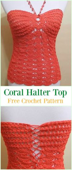 Crochet Coral Halter Top Free Pattern Video-#Crochet Summer Halter #Top Free Patterns