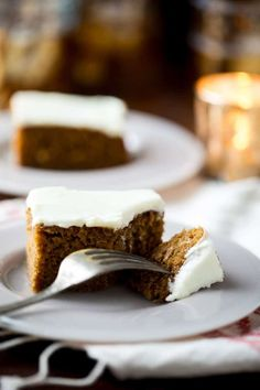 Healthier Gingerbread Sheet Cake with Cream Cheese Frosting for Christmas Dessert. Serves 18 people. Made with pure maple syrup instead of sugar, whole-grain flour, applesauce and lower fat cream cheese. Very moist and so good! | Healthy Seasonal Recipes #gingerbread #cake #christmas #dessert