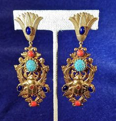 """Gripoix Scarab Cabochon Drop Pendant Earrings. New Askew London """"Egyptian Revival"""" These Beautiful Askew London. Please see our other special listings for more unique boutique items you can brows through."""