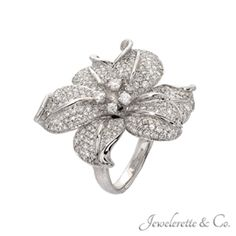 Diamond Micro Pave Flower Fine Jewelry Fashion Ring.