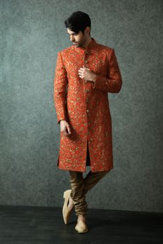 Sherwani embellished with heavy zardosi work from #Benzer #Benzerworld #Sherwani #Weddingwearformen