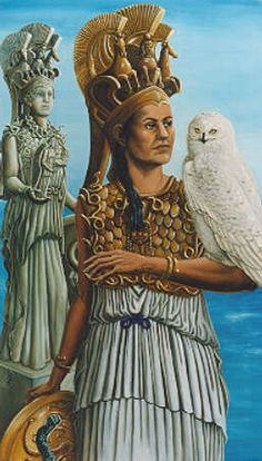 Athena, Greek goddess of wisdom, of household arts and crafts, of spinning and weaving, of textiles