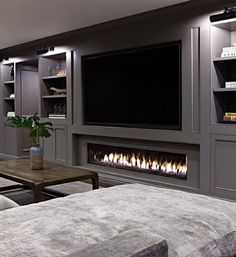 Basement Fireplace, Basement Living Rooms, Modern Basement, Fireplace Design, Fireplace Ideas, Basement Ceilings, Modern Tv Room, Cozy Basement, Low Ceilings