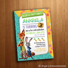 Zootopia Printable Birthday Invitation por AngiesAnnouncements