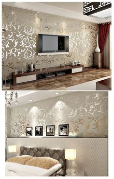 Modern Victorian Damask Flock Velvet Textured Wall paper Gray Gold Wallpaper Hom...