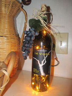 Wine Bottle Crafts With Lights | Recycled upcycled wine bottle light Eco by ArtEffectsbyChristie