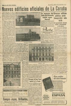 Inauguracións de edificios oficiais na Coruña - 28 de agosto de 1947 Event Ticket, August 28, Town Hall, Buildings