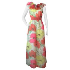 1960s Kiki Hart Poppy Print Organza Maxi Dress with Ruffled Collar | From a collection of rare vintage day dresses at https://www.1stdibs.com/fashion/clothing/day-dresses/