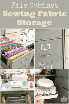 This is a genius idea for storing fabrics and craft room supplies ~ office file cabinets and desks