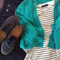 jade Précis cardi, M&S striped top, navy Jaeger trousers, navy sneakers Capsule Wardrobe, Sneakers, Jade, Trousers, Top, Collection, Tennis, Trouser Pants, Slippers