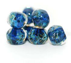 Lampwork BORO glass beads (7), borosilicate glass beads, handmade borosilicate lampwork glass beads, sea blue midnight. borosilicate SRA by Juliyamrboro on Etsy