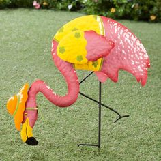 Metal Flamingo with Orange Hat by Maple Lane Creations-metal  Pink Flmingo Stake -