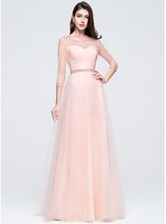 A-Line/Princess Scoop Neck Floor-Length Ruffle Beading Sequins Zipper Up Sleeves 3/4 Sleeves No Pearl Pink Winter Spring Fall General Plus Tulle Prom Dress