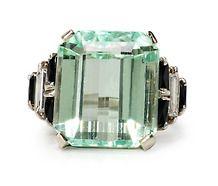 Chic Hiddenite Onyx & Diamond Ring