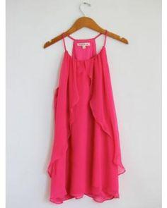 Fuchsia Flowy Halter Dress