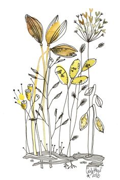 poudreuses et fines elles craquent entre mes doigts parfum volatile de sable et de résine       Enregistrer ... Illustration Botanique, Art Et Illustration, Floral Illustrations, Botanical Illustration, Doodle Drawing, Doodle Art, Painting & Drawing, Pen And Watercolor, Watercolor Flowers
