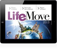 """Przewodnik """"LifeMove"""" to anglojęzyczna publikacja adresowana do ekspatów. Wydawca: Valkea Custom Publishing na zlecenie Universal Express Relocations, Wersja iOS."""