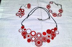 Set bijuterii alb si rosu Washer Necklace, Crafty, Lei, Quilling, Handmade, Jewelry, Bedspreads, Hand Made, Jewlery