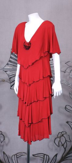 Holly Harp Matte Jersey Tiered Dress | From a collection of rare vintage day dresses at http://www.1stdibs.com/fashion/clothing/day-dresses/